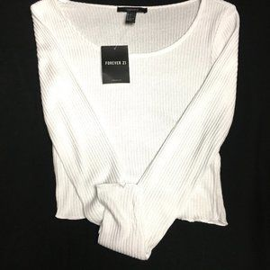 NWT Thin White Knit Silky Stretch Low Cut Top